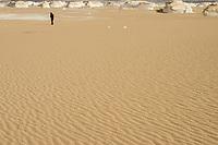 EGYPT, Farafra, Nationalpark White Desert , mushroom chalk rocks shaped by wind and sand erosion/ AEGYPTEN, Farafra, Nationalpark Weisse Wueste, durch Wind und Sand geformte Kalkfelsen