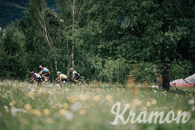 yellow jersey / GC leader Geraint Thomas (GBR/SKY), Romain Bardet (FRA/AG2R-La Mondiale), Dan Martin (IRE/UAE) & Adam Yates (GBR/Mitchelton-Scott) in pursuit of race leader Bilbao in teh last kilometers of the race<br /> <br /> Stage 6: Frontenex > La Rosière Espace San Bernardo (110km)<br /> 70th Critérium du Dauphiné 2018 (2.UWT)