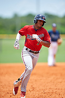 GCL Twins second baseman Ricky De La Torre (70) rounds the bases after hitting a home run in the bottom of the seventh inning during the first game of a doubleheader against the GCL Rays on July 18, 2017 at Charlotte Sports Park in Port Charlotte, Florida.  GCL Twins defeated the GCL Rays 11-5 in a continuation of a game that was suspended on July 17th at CenturyLink Sports Complex in Fort Myers, Florida due to inclement weather.  (Mike Janes/Four Seam Images)