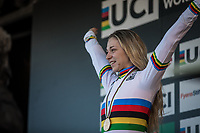 Inge van der Heijden (NED) surprisingly finishing 1st and thus becoming the new U23 World Champion<br /> <br /> Women U23 race.<br /> <br /> UCI 2019 Cyclocross World Championships<br /> Bogense / Denmark<br /> <br /> <br /> ©kramon
