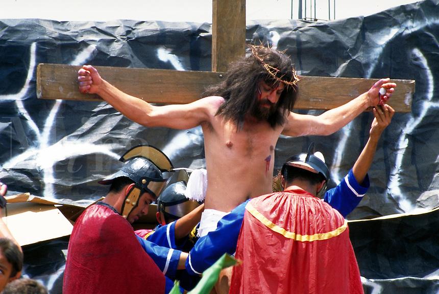 Jesus on Cross in Easter Procession in Costa Rica. Christ on Cross. Santa Barbara, Costa Rica.