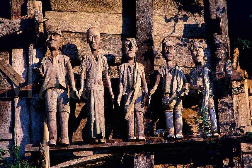 Wooden funeral effigies Tau Tau Tanatoraja Toraja Land Marante Sulawesi Indonesia.