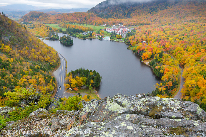 Dixville Notch State Park - Lake Gloriette and the Balsams Grand Resort in Dixville, New Hampshire USA on a cloudy autumn day.
