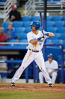 Dunedin Blue Jays third baseman Nash Knight (35) at bat during a game against the Fort Myers Miracle on April 17, 2018 at Dunedin Stadium in Dunedin, Florida.  Dunedin defeated Fort Myers 5-2.  (Mike Janes/Four Seam Images)