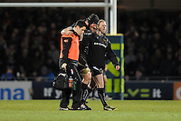 James Hanks of Exeter Chiefs is taken off injured during the LV= Cup match between Exeter Chiefs and Bath Rugby at Sandy Park Stadium on Sunday 5th February 2012 (Photo by Rob Munro)