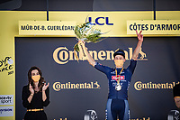 stage winner Mathieu Van der Poel (NED/Alpecin-Fenix) not only becomes the new GC leader (yellow jersey), but is also the new KOM leader (polka dot jersey).<br /> <br /> Stage 2 from Perros-Guirec to Mûr-de-Bretagne, Guerlédan (184km)<br /> 108th Tour de France 2021 (2.UWT)<br /> <br /> ©kramon