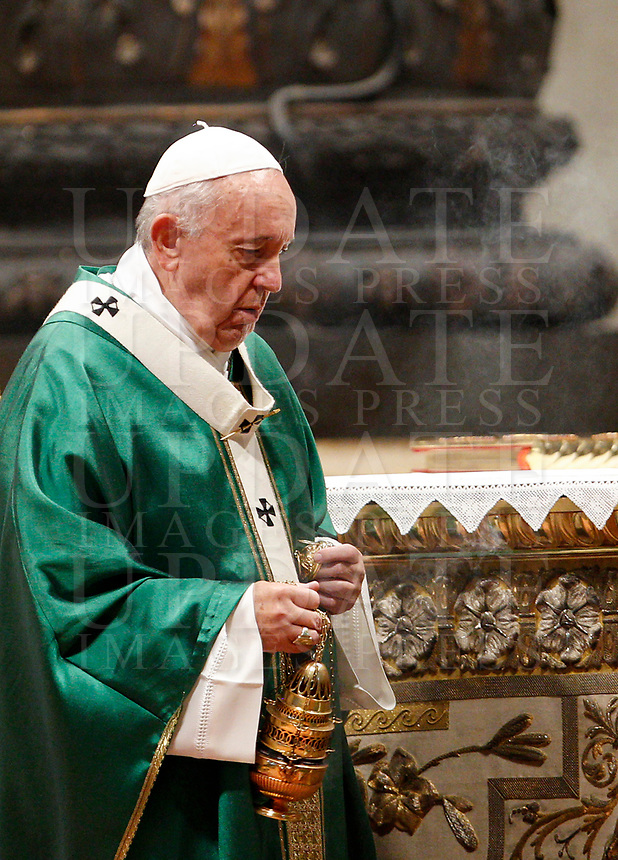 Pope Francis celebrates a Mass for the opening of the Synod of Bishops for the Amazon region, in St. Peter's Basilica at the Vatican, October 6, 2019.<br /> UPDATE IMAGES PRESS/Riccardo De Luca<br /> <br /> STRICTLY ONLY FOR EDITORIAL USE