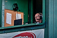 29 July 2018: Vermont Radio Sportscaster George Commo works in the press box during a game between the Batavia Muckdogs and the Vermont Lake Monsters at Centennial Field in Burlington, Vermont. The Lake Monsters defeated the Muckdogs 4-1 in NY Penn League action. Mandatory Credit: Ed Wolfstein Photo *** RAW (NEF) Image File Available ***