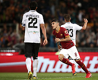 Football, Serie A: AS Roma - Parma, Olympic stadium, Rome, May 26, 2019. <br /> Roma's Diego Perotti (c) celebrates after scoring during the Italian Serie A football match between Roma and Parma at Olympic stadium in Rome, on May 26, 2019.<br /> UPDATE IMAGES PRESS/Isabella Bonotto