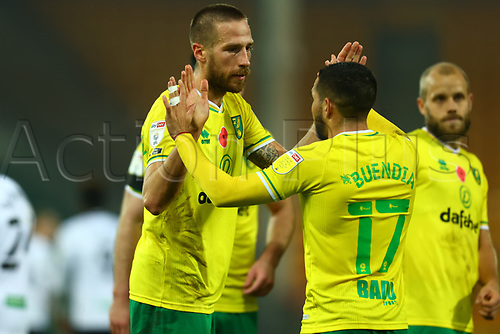 7th November 2020; Carrow Road, Norwich, Norfolk, England, English Football League Championship Football, Norwich versus Swansea City; Marco Stiepermann of Norwich City celebrates with Emi Buendía after he scores for 1-0 in the 84th minute