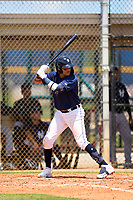FCL Tigers East Manuel Sequera (15) bats during a game against the FCL Yankees on June 28, 2021 at Tigertown in Lakeland, Florida.  (Mike Janes/Four Seam Images)
