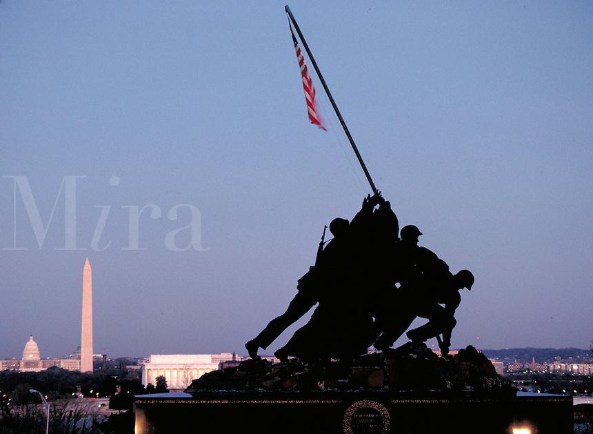 Washington DC (in distance) and the Iwo Jima Monument (in Arlington, VA) National parks, Tourism. Washington DC USA.