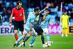 Referee Melero Lopez, Real Sociedad's Sandro Ramirez  and Celta de Vigo's Hugo Mallo during La Liga match. April, 8th,2019. (ALTERPHOTOS/Alconada)