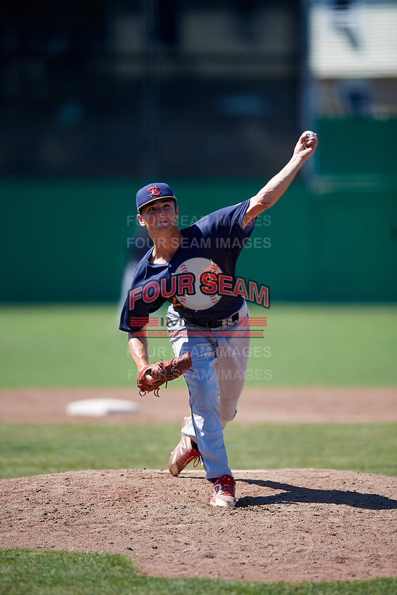 State College Spikes relief pitcher Jacob Schlesener (22) delivers a pitch during a game against the Batavia Muckdogs on July 8, 2018 at Dwyer Stadium in Batavia, New York.  Batavia defeated State College 8-3.  (Mike Janes/Four Seam Images)