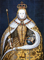 The Coronation Portrait- Daughter of King Henry VIII of England and his second wife, Anne Boleyn, Elizabeth I ascended the throne of England on the death of her sister Mary. She reigned from 1558-1603.-