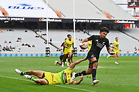 22nd May 2021; Eden Park, Auckland New Zealand; All Blacks Sevens versus Australia, Trans-Tasman Sevens;  Kitione Vai (nzl) brushes off the tackle and scores a try.
