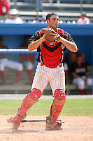 June 22nd 2008:  Catcher Charlie Cutler (11) of the Batavia Muckdogs, Class-A affiliate of the St. Louis Cardinals, during a game at Dwyer Stadium in Batavia, NY.  Photo by:  Mike Janes/Four Seam Images
