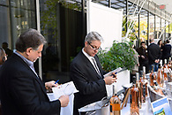Tasting rosé wines at an industry event.