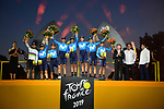 Movistar Team win the team classification on the final podium at the end of Stage 21 of the 2019 Tour de France running 128km from Rambouillet to Paris Champs-Elysees, France. 28th July 2019.<br /> Picture: ASO/Pauline Ballet   Cyclefile<br /> All photos usage must carry mandatory copyright credit (© Cyclefile   ASO/Pauline Ballet)