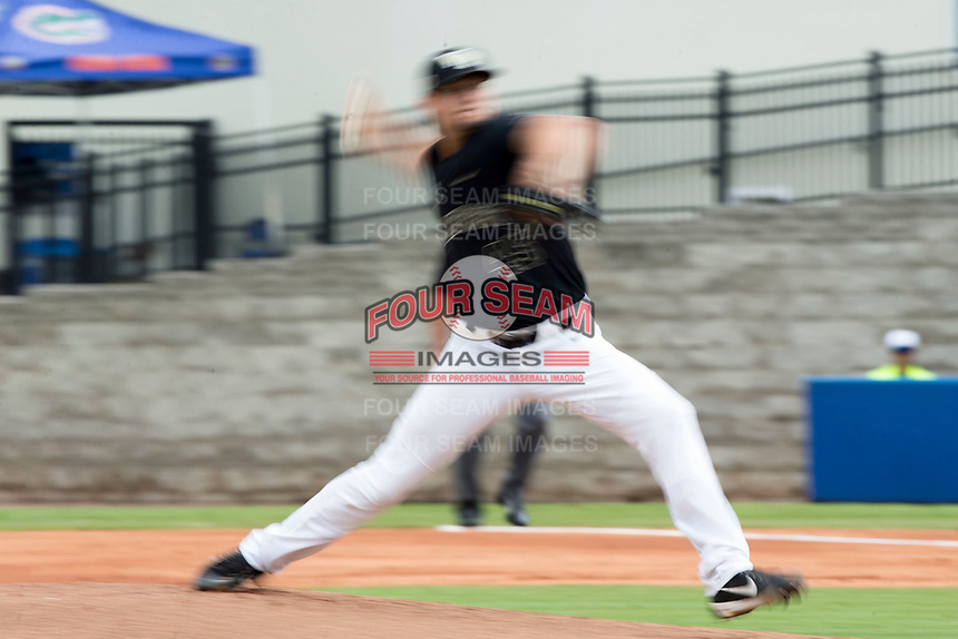 Wake Forest Demon Deacons starting pitcher John McCarren (45) in action against the Florida Gators in Game Three of the Gainesville Super Regional of the 2017 College World Series at Alfred McKethan Stadium at Perry Field on June 12, 2017 in Gainesville, Florida.  (Brian Westerholt/Four Seam Images)