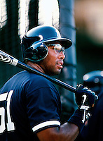 Bernie Williams of the New York Yankees plays in a baseball game at Edison International Field during the 1998 season in Anaheim, California. (Larry Goren/Four Seam Images)