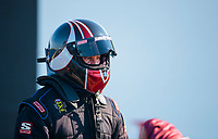 Aug 8, 2020; Clermont, Indiana, USA; NHRA top fuel driver Pat Dakin during qualifying for the Indy Nationals at Lucas Oil Raceway. Mandatory Credit: Mark J. Rebilas-USA TODAY Sports