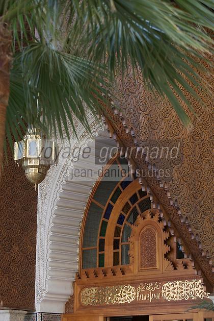 Afrique/Afrique du Nord/Maroc/Fèz: Hotel Palais Jamai détail de l'entrée