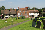 Cobham Kent UK. Charles Dickens used the half timbered pub The Leather Bottle in this Kenntish village and incorporated village life as seen by him here in many of his novels. St Mary Magdalene church yard.