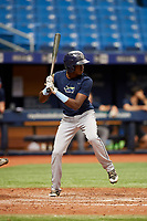 Yunior Martinez (7) at bat during the Tampa Bay Rays Instructional League Intrasquad World Series game on October 3, 2018 at the Tropicana Field in St. Petersburg, Florida.  (Mike Janes/Four Seam Images)