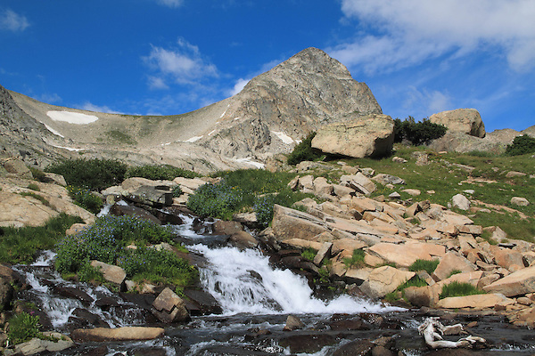 Columbine Waterfalls and Mitchell Creek with Mount Toll, Indian Peaks Wilderness Area, west of Boulder, Colorado. Private photo tours to Indian Peaks.