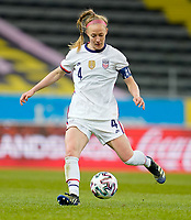 SOLNA, SWEDEN - APRIL 10: Becky Sauerbrunn #4 of the United States moves with the ball during a game between Sweden and USWNT at Friends Arena on April 10, 2021 in Solna, Sweden.