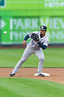 Kane County Cougars second baseman Eddie Hernandez (14) prepares to catch a ball thrown by the catcher during a Midwest League game against the Fort Wayne TinCaps at Parkview Field on April 30, 2019 in Fort Wayne, Indiana. Kane County defeated Fort Wayne 7-4. (Zachary Lucy/Four Seam Images)