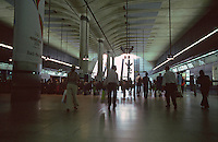 London:  Jubilee Line--Canary Wharf Station, interior.  Norman Foster's station is as long as Pelli's building is high--280 M.  Photo 2005.