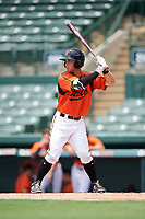 GCL Orioles left fielder Max Hogan (15) at bat during a game against the GCL Rays on July 21, 2017 at Ed Smith Stadium in Sarasota, Florida.  GCL Orioles defeated the GCL Rays 9-0.  (Mike Janes/Four Seam Images)