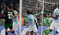 Calcio, semifinale di ritorno di Coppa Italia: Lazio vs Juventus. Roma, stadio Olimpico, 29 gennaio 2013..A laser ray is seen during the Italy Cup football semifinal return leg match between Lazio and Juventus at Rome's Olympic stadium, 29 January 2013..UPDATE IMAGES PRESS/Riccardo De Luca