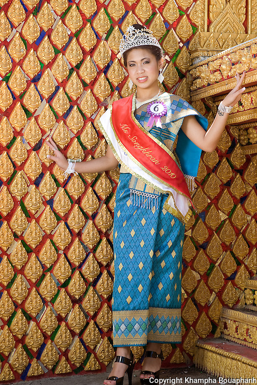 Tisha Phengdara, the new Miss Songkran at Wat Lao Thepnimith in Fort Worth, Texas poses on April 25, 2010.  (photo by Khampha Bouaphanh)