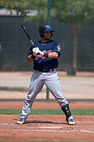 Cleveland Indians catcher Mike Rivera (6) at bat during an Extended Spring Training game against the Arizona Diamondbacks at the Cleveland Indians Training Complex on May 27, 2018 in Goodyear, Arizona. (Zachary Lucy/Four Seam Images)