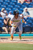 Yordys Valdes (7) of the Lynchburg Hillcats starts down the first base line against the Kannapolis Cannon Ballers at Atrium Health Ballpark on August 29, 2021 in Kannapolis, North Carolina. (Brian Westerholt/Four Seam Images)