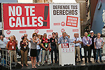 Expression of the Spanish trade unions against cuts and closures of public services.Spanish trade union leaders of sections of public services listen to the intervention of Jose Ricardo Martinez, Secretary General of UGT Madrid during the union rally after demonstration..(Alterphotos/Ricky)