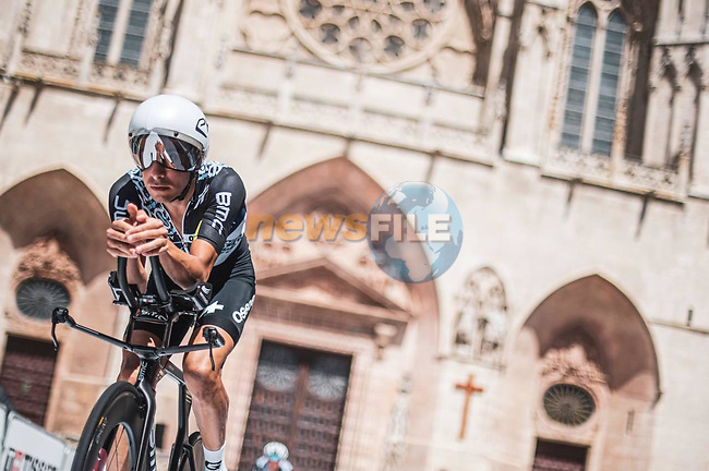 Team Qhubeka NextHash riders recon Stage 1 of La Vuelta d'Espana 2021, a 7.1km individual time trial around Burgos, Spain. 14th August 2021. <br /> Picture: Unipublic/Charly Lopez   Cyclefile<br /> <br /> All photos usage must carry mandatory copyright credit (© Cyclefile   Unipublic/Charly Lopez)