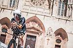 Team Qhubeka NextHash riders recon Stage 1 of La Vuelta d'Espana 2021, a 7.1km individual time trial around Burgos, Spain. 14th August 2021. <br /> Picture: Unipublic/Charly Lopez | Cyclefile<br /> <br /> All photos usage must carry mandatory copyright credit (© Cyclefile | Unipublic/Charly Lopez)