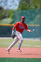 Philadelphia Phillies Edwin Rodriguez (30) before a Minor League Extended Spring Training game against the Pittsburgh Pirates on May 3, 2018 at Pirate City in Bradenton, Florida.  (Mike Janes/Four Seam Images)