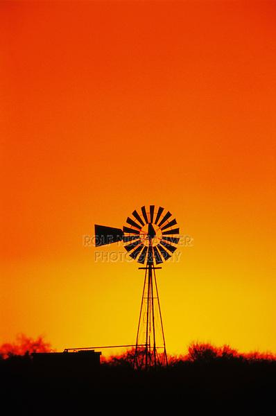 Windmill at sunset,Sinton,Texas, USA