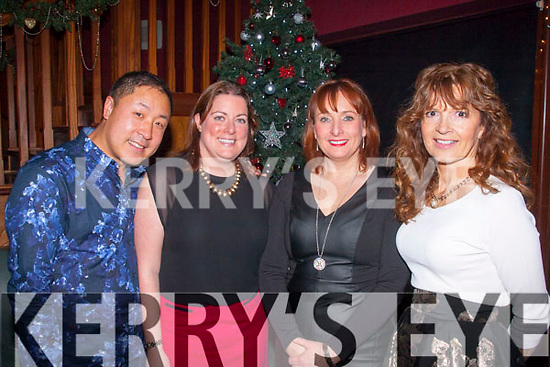 Ace Night<br /> -----------<br /> enjoying the Tralee tennis club Christmas party in O'Donnell's of Mounthawk,Tralee were L-R Chris Sun,Ciara O'Brien,Denise Brassil&Dolores O'Callaghan.
