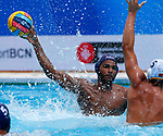 Thomas Vernoux in action during game between Montenegro against France LEN European Water Polo Championships, Barcelona 16.07.2018