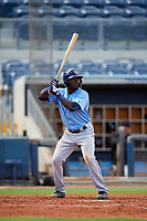 Tampa Bay Rays Tony Pena (93) at bat during a Florida Instructional League game against the Baltimore Orioles on October 1, 2018 at the Charlotte Sports Park in Port Charlotte, Florida.  (Mike Janes/Four Seam Images)