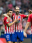 Angel Correa and Juan Francisco Torres Belen, Juanfran, of Atletico de Madrid during their International Champions Cup Europe 2018 match between Atletico de Madrid and FC Internazionale at Wanda Metropolitano on 11 August 2018, in Madrid, Spain. Photo by Diego Souto / Power Sport Images