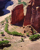 View of canyon floor from Sliding Rock Overlook; Canyon de Chelly National Monument, AZ