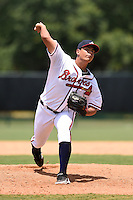 GCL Braves pitcher Jorge Zavala (22) delivers a pitch during a game against the GCL Blue Jays on June 27, 2014 at the ESPN Wide World of Sports in Orlando, Florida.  GCL Braves defeated GCL Blue Jays 10-9.  (Mike Janes/Four Seam Images)