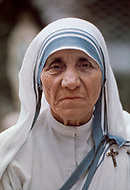 """Calcutta, India. April 04, 1975.<br /> Mother Teresa at her Kalighat Home for the Dying in Calcutta. The first Home for the Dying opened in 1952 and was a free hospice for the poor. Mother Teresa (Agnes Gonxha Boyaxihu) the Roman Catholic, Albanian nun revered as India's """"Saint of the Slums,"""" was awarded the 1979 Nobel Peace Prize."""
